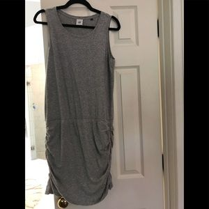 Cabi grey jersey dress with ruching on sides